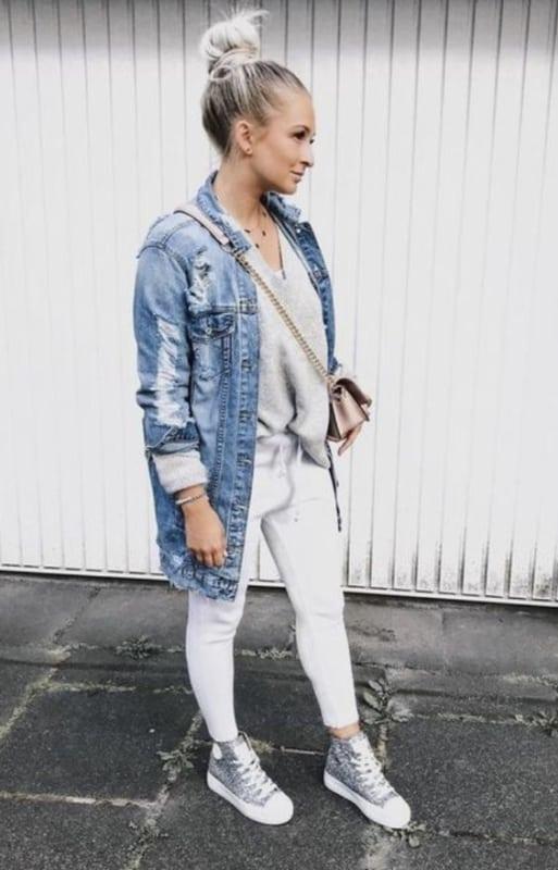 look jaqueta jeans longa