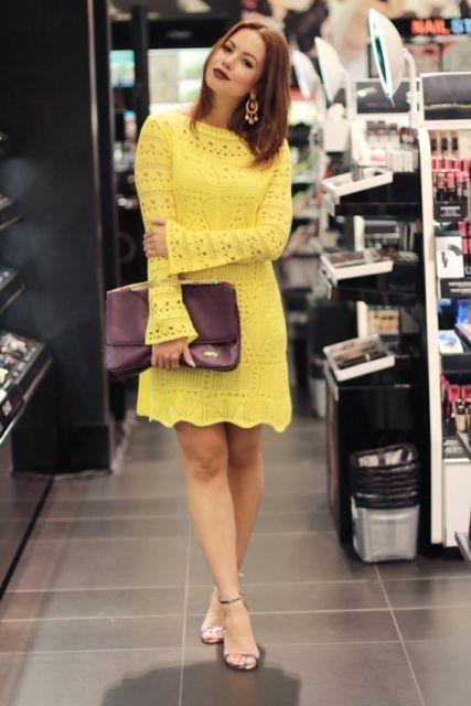 vestido de tricô curto