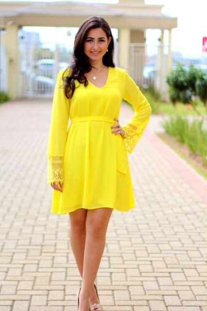 vestido de verão com manga longa