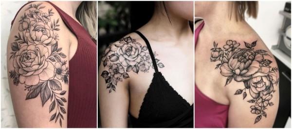 peônia tattoo no ombro