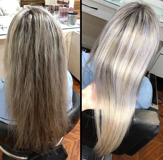 progressiva em cabelo loiro