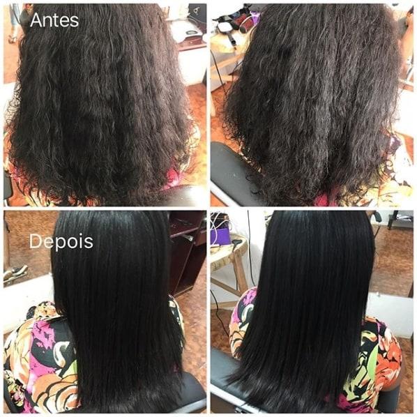 antes e depois alisamento cabelo curto