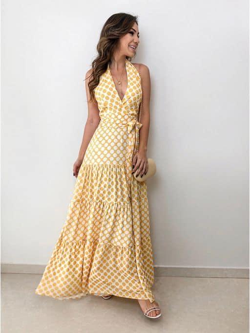 vestido longo para noivado durante o dia