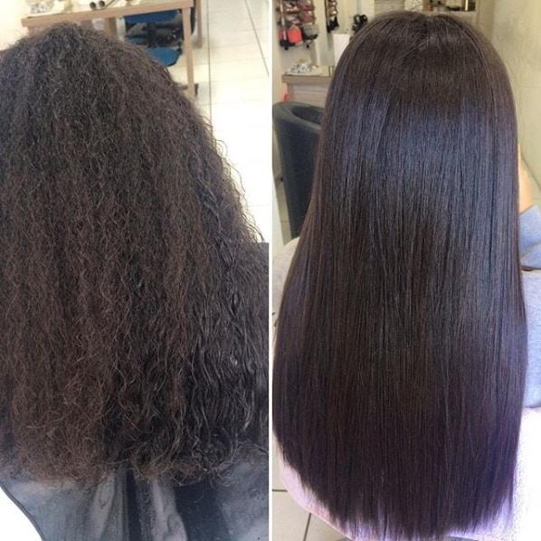 cabelo alisado antes e depois