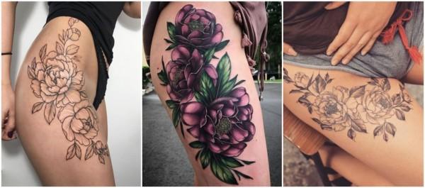 peonia tattoo na coxa