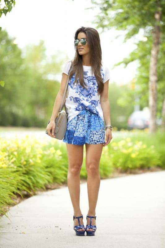 look azul estampado