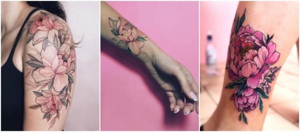 peônia tattoo colorida