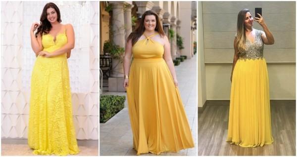 vestido de madrinha amarelo plus size