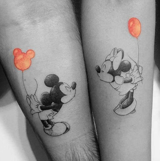 tatuagem do mickey e da minnie para casal