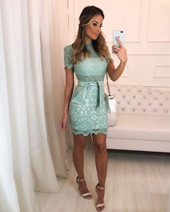 vestido de noivado verde curto