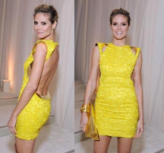 vestido tubinho amarelo