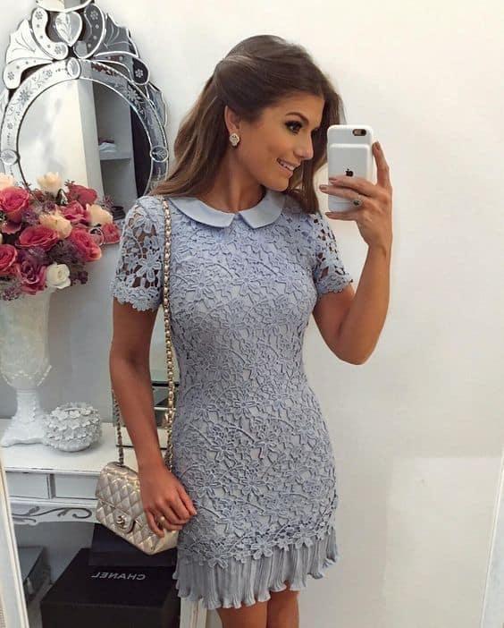 vestido curto e delicado