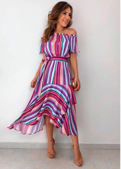vestido de noivado colorido