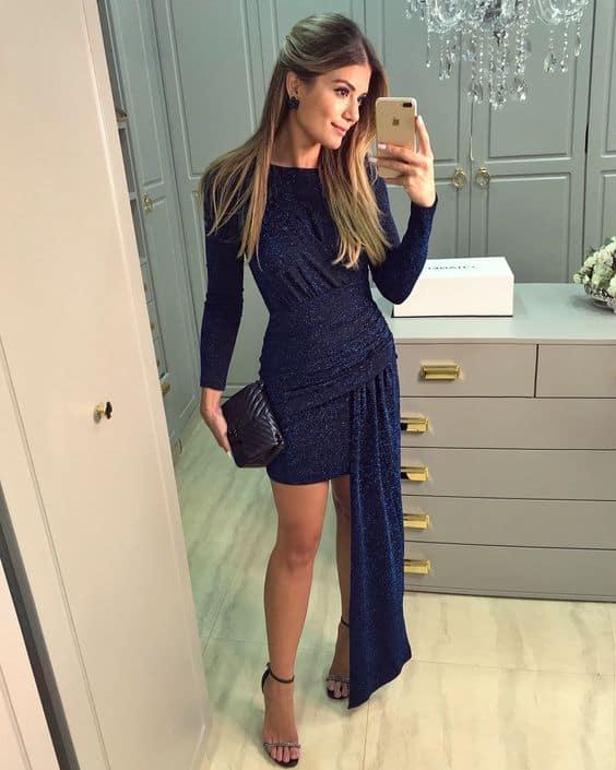 49 vestido com mangas longas para noite