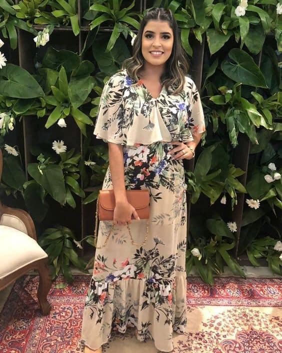 vestido evangélico com estampa floral