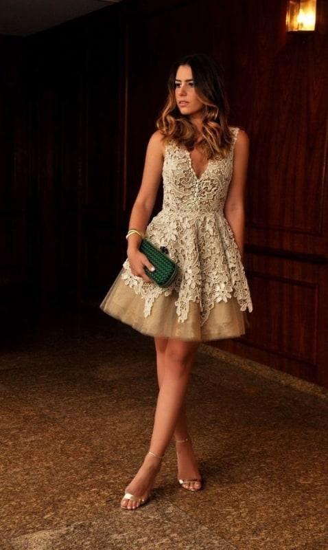 vestido com tule romântico