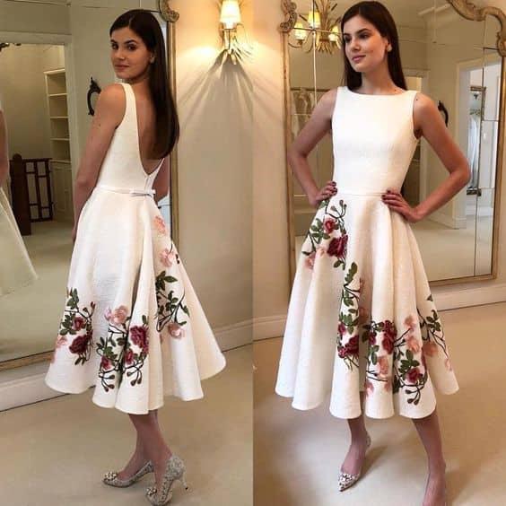vestido branco romântico midi