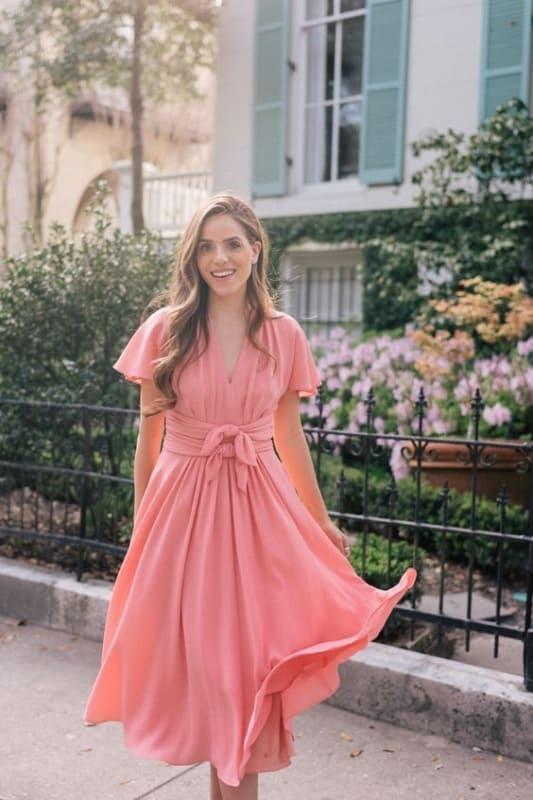 vestido rosa romântico