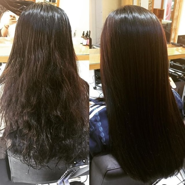 antes e depois alisamento em cabelo ondulado