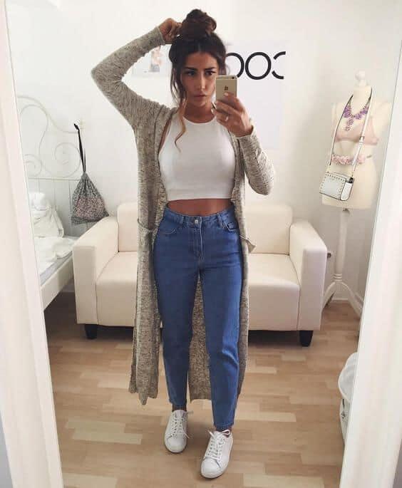 look calça jeans com tênis branco