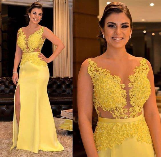 vestido de madrinha com renda amarela