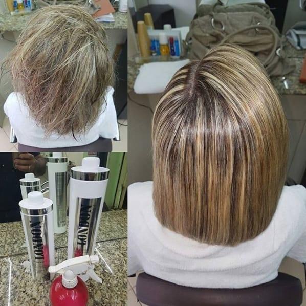 progressivo em cabelo com luzes