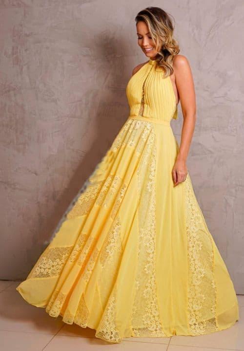 vestido amarelo longo com renda