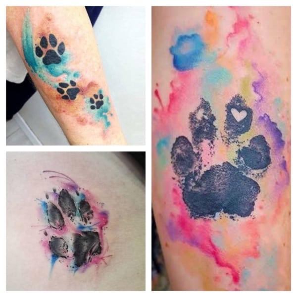 ideias de tatuagem de pata de cachorro aquarela