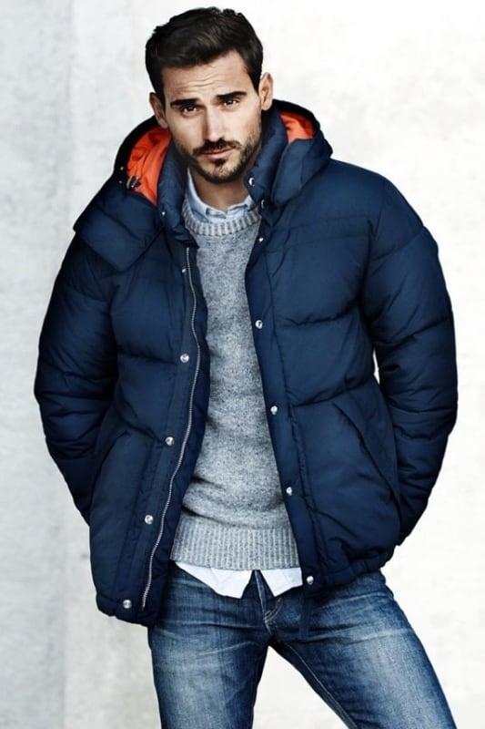 jaqueta puffer masculina azul grande