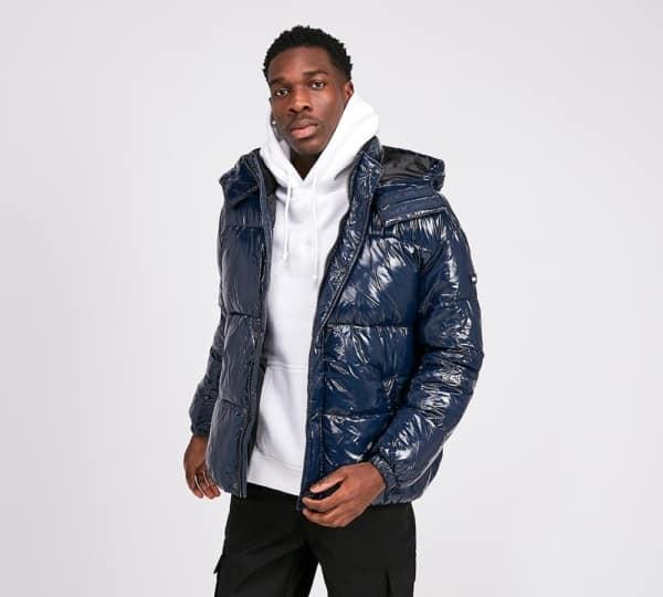 jaqueta puffer masculina azul moderna