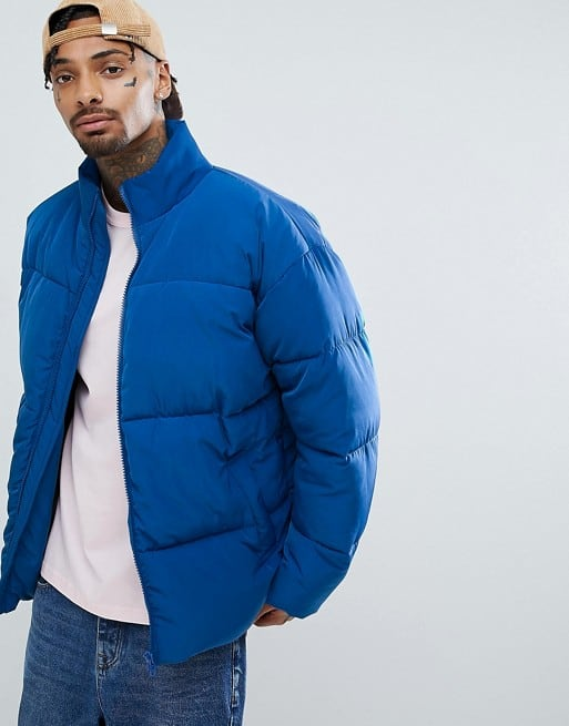 jaqueta puffer masculina azul swag