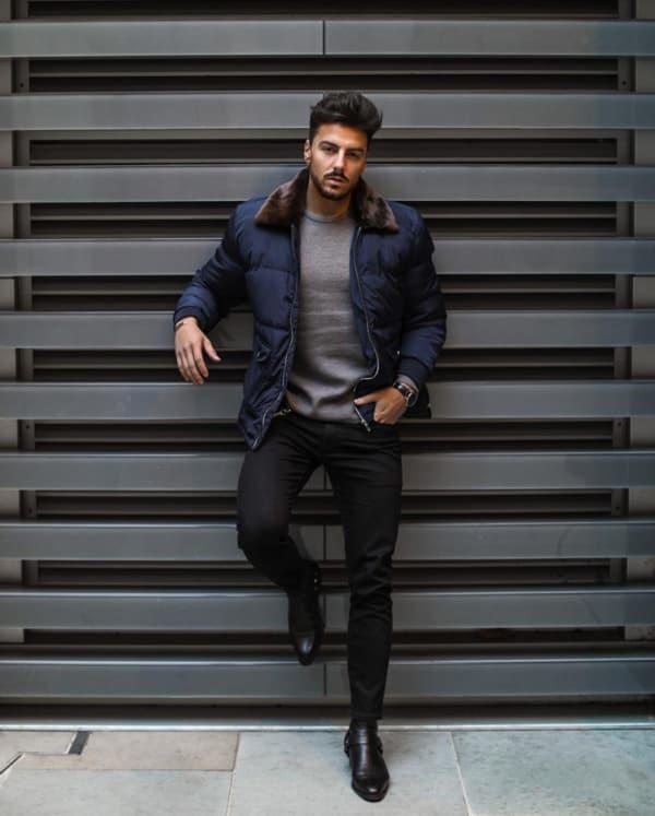 jaqueta puffer masculina azul