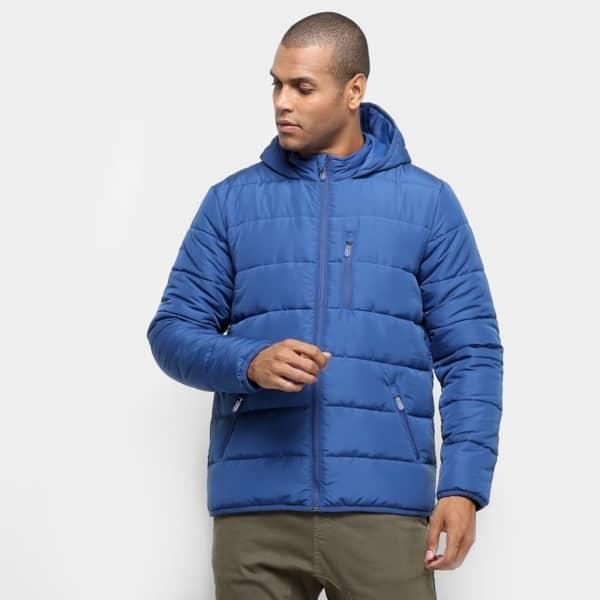 jaqueta puffer masculina com capuz azul