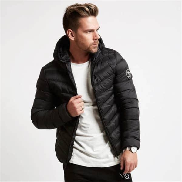 jaqueta puffer masculina com capuz preta moderna