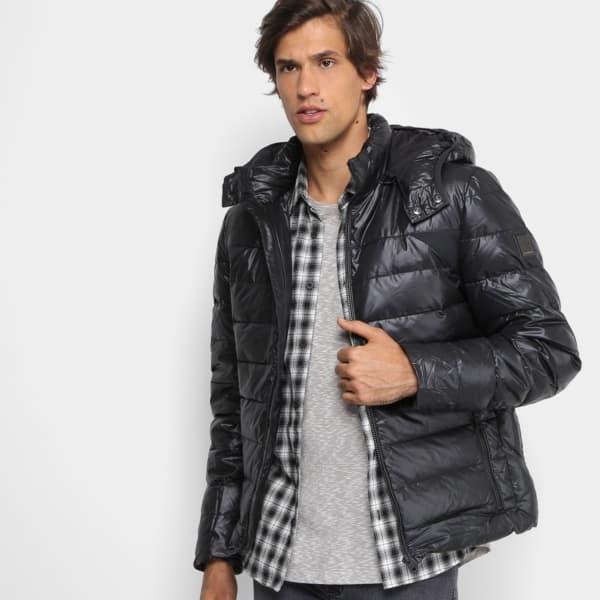 jaqueta puffer masculina com capuz removivel