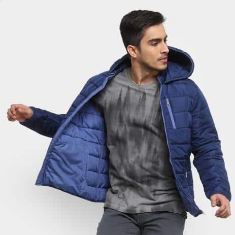 jaqueta puffer masculina com capuz