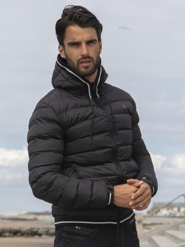 jaqueta puffer masculina preta de inverno