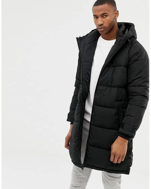 jaqueta puffer masculina preta longa