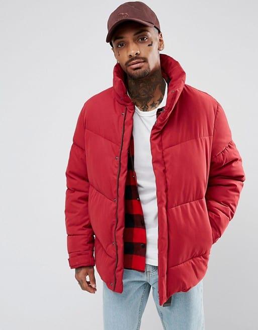 jaqueta puffer masculina vermelha looks