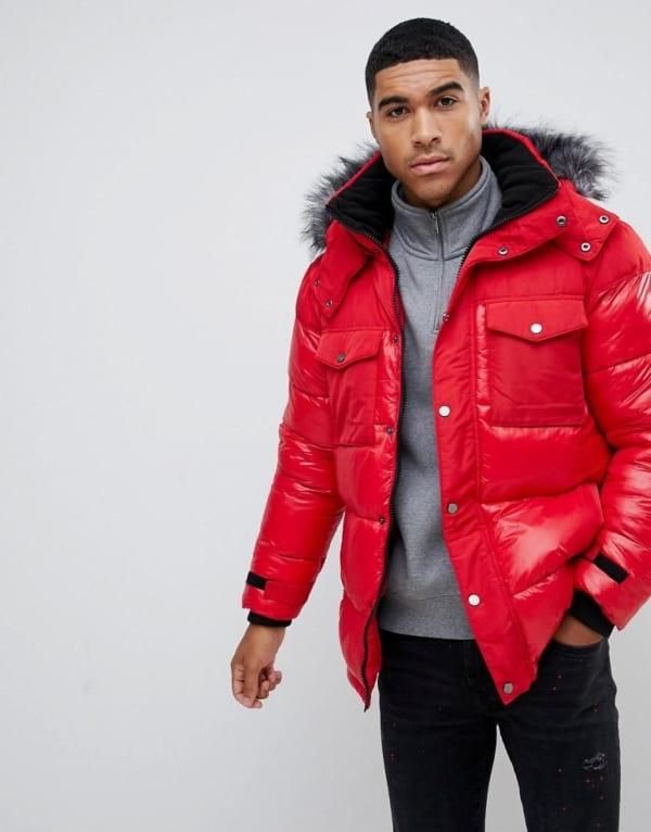 jaqueta puffer masculina vermelha moderna
