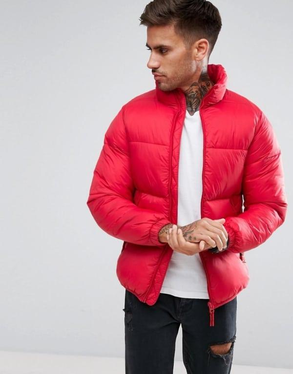 jaqueta puffer masculina vermelha pequena