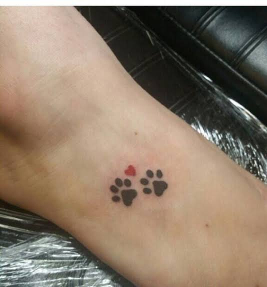 linda tatuagem de pata de cachorro pequena e delicada