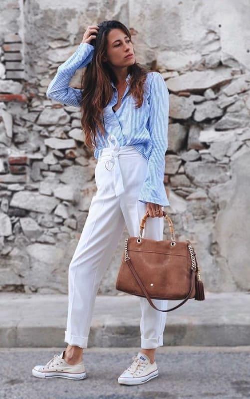 look com calça branca modelo clochard 29
