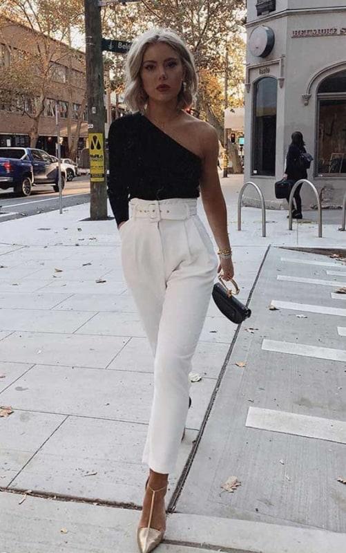 look com calça branca modelo clochard 30