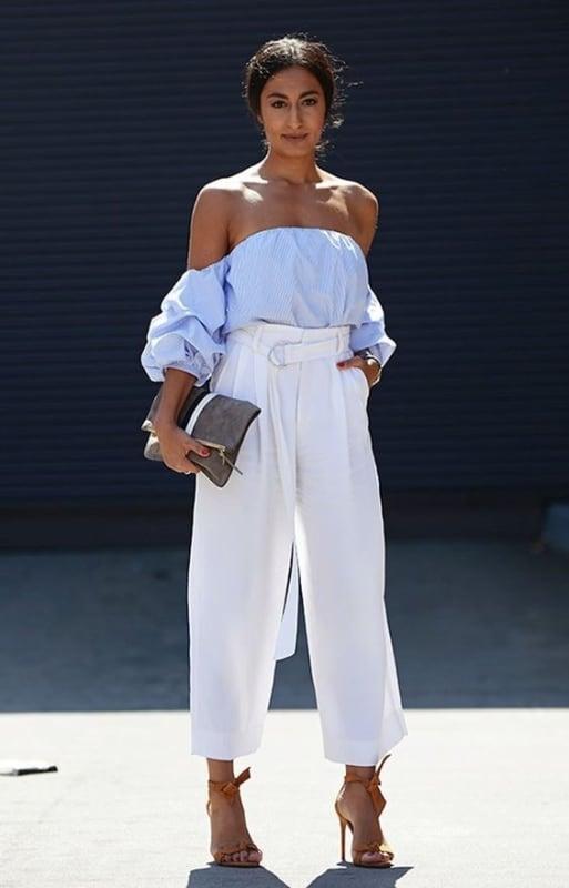 look com calça branca modelo clochard 31