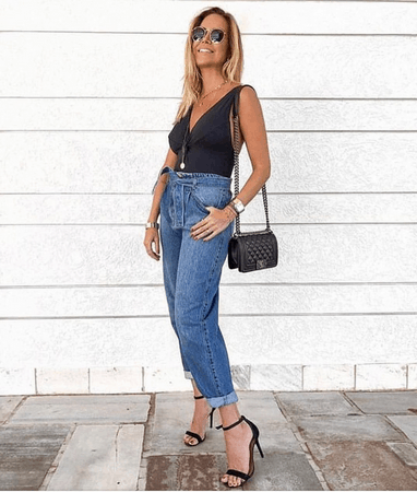 look com calça jeans clochard 14