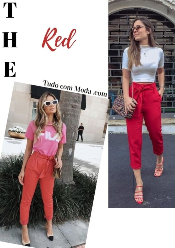 look com calça vermelha modelo clochard 31