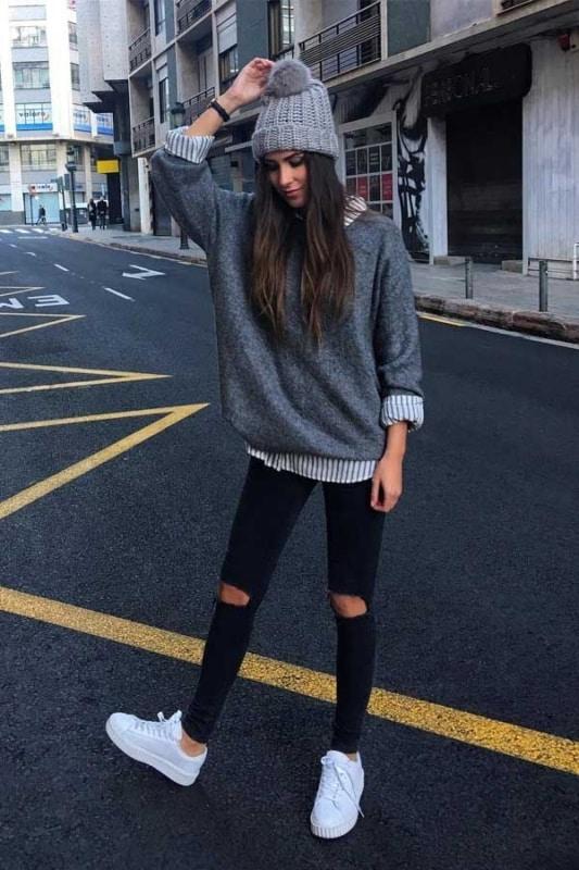 look com moletom e calça jeans tumblr 93
