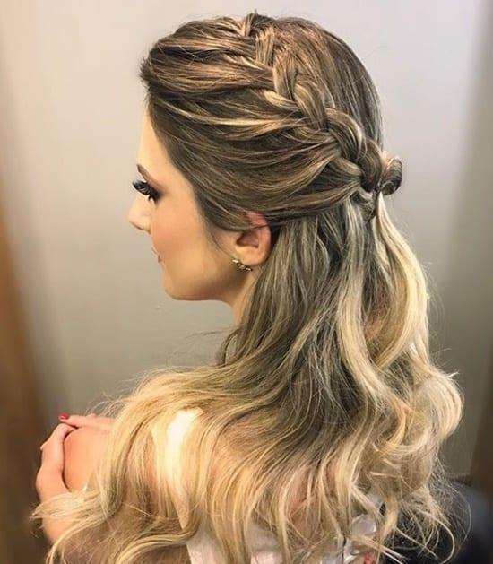 penteado com ligas e trança