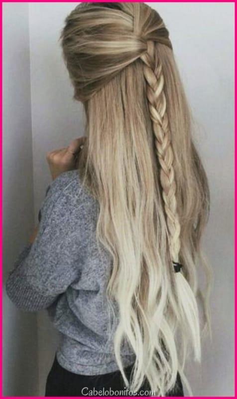 penteado com ligas trança linda